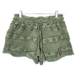 Free People Green Floral Lace Shorts Size S